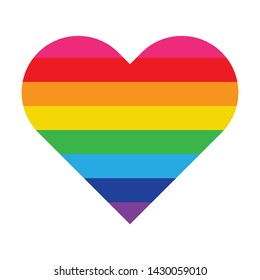 Heart rainbow. Equal rights movement and gender equality concept. Isolate on white background.