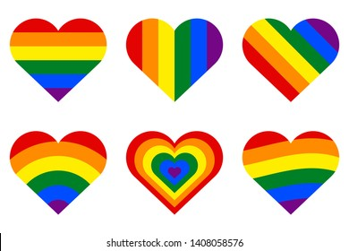 Heart with a rainbow flag. Symbol of LGBT community, sexual minorities, gays and lesbians. Set of six vector icons. Heart open to universal love, friendship and tolerance. Gay pride symbol.