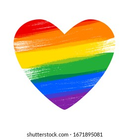 Heart in rainbow LGBT flag colors - paint style vector illustration. Lesbian, Gay, Bisexual and Transgender rights.