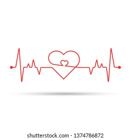 Heart rate cardiogram uses a white background and a red line