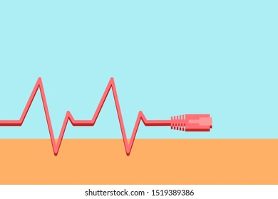Heart rate EKG style using an ethernet cable for device or technology stress concept