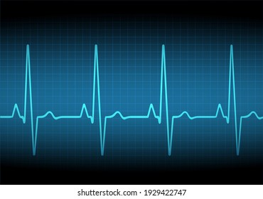 Heart rate graph. Heart beat. Ekg icon wave. Turquoise color. Sound wave line. Medical design. Stock vector illustration.