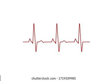 Heart rate graph. Heart beat line. Ekg icon wave. Red color. Sound wave line. Medical design. Stock vector illustration.