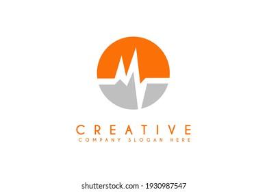 heart rate health logo design vector illustration
