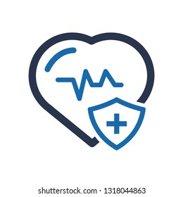 Heart Rate Icon, Electrocardiography Icon, Health Insurance Icon