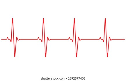 Heart rate is red on a white background. Vector illustration.