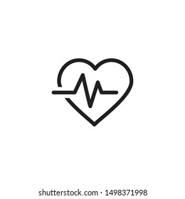 Heart Rate vector icon. Heart Pulse, electrocardiogram icon. Healthcare and medical related solid illustration. Trendy Flat style for graphic design, Web site, UI. EPS10. - Vector illustration