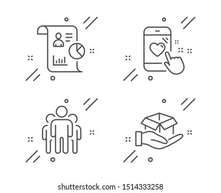 Heart rating, Group and Report line icons set. Hold box sign. Phone feedback, Managers, Work statistics. Delivery parcel. People set. Line heart rating outline icon. Vector