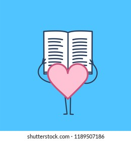 Heart reading book or newspaper. Vector concept illustration of learning informed heart | flat design linear infographic icon on blue background
