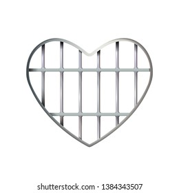 Heart Realistic prison iron interior. Jail cell modern with bars. lattice. Detention centre cell metallic. Isolated grid. Eps 10. Vector Metal icon love symbol. Valentines day for design, illustration