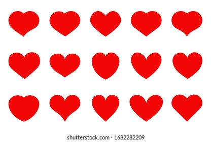 Heart red flat cartoon icon set. Romantic abstract different shape symbol on Valentines Day. Love banner template decorative element for wedding invitation card. Isolated on white vector illustration