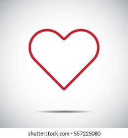 Heart Red Icon line Vector , Love Symbol  Valentine's Day