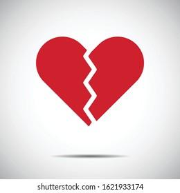Heart Red Icon Vector , Heartbroken , Love Symbol