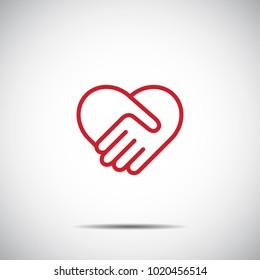 Heart Red Icon Vector , Love Symbol  Valentine's Day