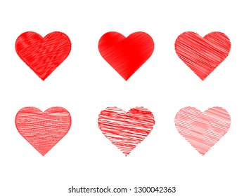 Heart red icon vector in pencil stripes line set. Love symbol for Valentine's Day sign isolated on white background in Flat style for graphic and web design or logo. EPS 10
