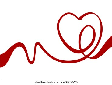 Heart from red ribbon