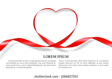 Heart of red ribbon isolated on white background. Vector illustration, ready and simple to use for your design. It can be used for greetings, congratulations and etc.