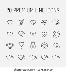 Heart related vector icon set. Well-crafted sign in thin line style with editable stroke. Vector symbols isolated on a white background. Simple pictograms