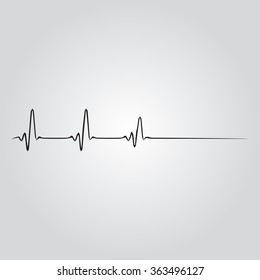 Heart rhythm ekg. Gray Vector Illustration. Isolated vector Illustration. Black on Gradient background. EPS Illustration.