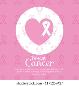 heart with ribbon breast cancer icons