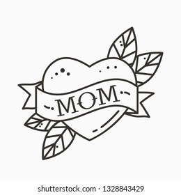 Heart with ribbon and inscription Mom. Greeting retro greeting card element for Mother's Day. vintage tattoo. flat vector illustration isolated on white background