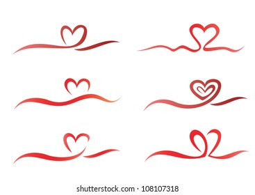 Heart from ribbon set of vector symbols
