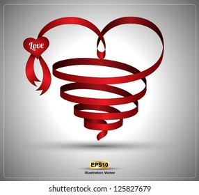 Heart ribbon twist for love concept / wedding day / valentine's day. Vector illustration.