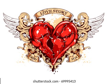 Heart with ribbons, wings and flourish pattern. Tattoo style. Layered. Vector EPS 10 illustration.