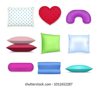 Heart roll square and contour cervical pillows realistic colorful set with travel neck cushion isolated vector illustration