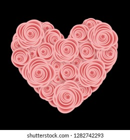Heart from roses flowers. Floral heart for Valentine's Day greeting card. Vector illustration EPS10