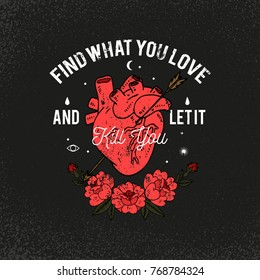 Heart with roses. Kill you slogan. Typography graphic print, fashion drawing for t-shirts. Vector stickers,print, patches vintage rock style