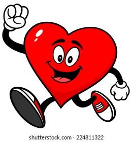 Heart With Running Shoes On Cartoon