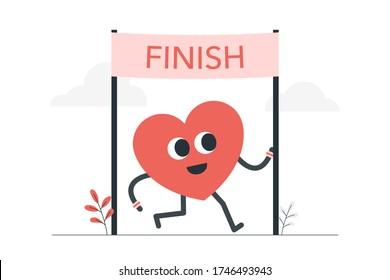 heart running across finish line. Mental health goal concept illustration.