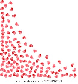 Heart scatter falling on white background. Wedding card vector backdrop. Red rose folded paper cut hearts. Romantic love symbols. Fancy flying confetti print design.