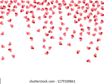 Heart scatter flying on white background. Wedding card vector backdrop. Red and pink folded paper cut hearts. Romantic love symbols. Holiday decor elements vector design.