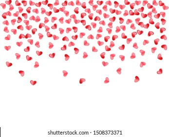 Heart scatter flying on white background. March 8 postcard vector backdrop. Red and crimson folded paper hearts. Romantic mood symbols. Holiday decoration graphic design.