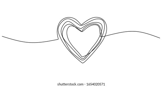 Heart scribble drawing. One line love sign minimalism, continuous single hand drawn vector illustration. Doodle abstract symbol simplicity design.