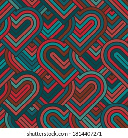 Heart seamless geometric pattern, endless texture. Colored bright striped hearts for your design. Vector illustration for Valentine's day, wedding, holiday, love.