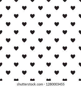 Heart seamless pattern, endless texture. Black hearts on white background, vector illustration. Valentine's Day Pattern. Anniversary, Birthday. Love. Sweet Moment. Wedding.