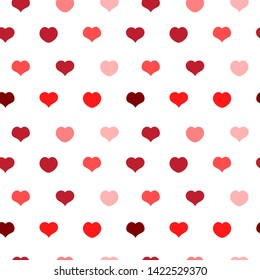 Heart seamless pattern, Love symbol for Valentine's day, red pink and rose hearts  - vector