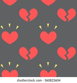 Heart seamless pattern on the black background