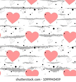 Heart seamless pattern.Colorful hearts.Packaging design for gift wrap. Abstract geometric modern background. Vector illustration. Art deco style. Heart seamless pattern