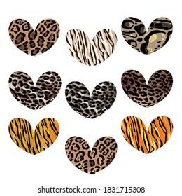 Heart set with animalistic print. Leopard, jaguar, lion, tiger skin print. Fashion Design for print, poster, card, t-shirt, badges and sticker.