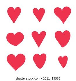 Heart set red cute cartoon doodle sketch