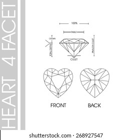 Heart shape 4 facet vector