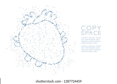 Heart shape Abstract Geometric polygon square box and Triangle pattern, Medical Science Organ concept design blue color illustration isolated on white background with copy space, vector eps 10