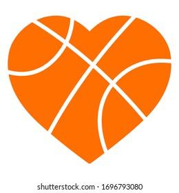 Heart shape basketball ball vector illustration isolated on white background