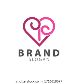 Heart shape brand logos for stores and brands