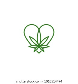 Heart shape cannabbis icon