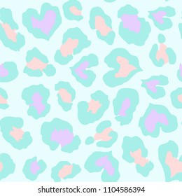 Heart shape colorful leopard seamless pattern in vector